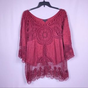 Lane Bryant crochet lace red long sleeve top